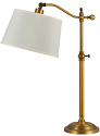 "Antique Brass Adjustable Arm Lamp Beige Linen Shade 28""H - Sale !"