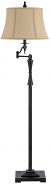 "Oil Rubbed Bronze Adjustable Arm Floor Lamp Burlap Shade 61"" H"
