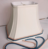 "Rectangle Lamp Shade Bell Silk Cut Corners + Custom Cording Trim 8-20""W"