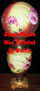 Burgundy Yellow Pink & Green Ball Glass Painted To Match The Base