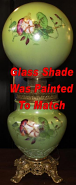 Green Floral Glass Shade On Banquet Lamp Painted To Match
