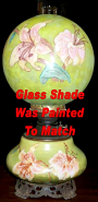 Late 1800's Oil Lamp - New Shade Painted To Match Base