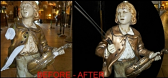 Marbro Boy Lamp Violin Before and After Repair