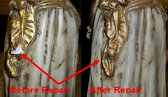 Marbro Girl Statue Robe Sash Before and After Repair