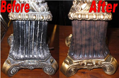 Colorful Lamp Base Before & After Refinishing