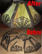 Slag Lamp Shade Frame & Glass Restoration