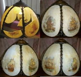 Slag Lamp Shade New Glass Panels & Hand Painting