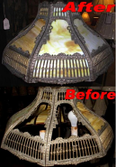 Repaired Slag Lamp Shade Broken Panels & Warped Frame