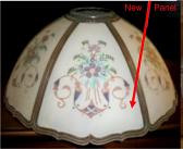 Antique Reverse Painted Slag Shade Repair