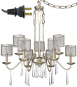 "Rita Washed Gold & Crystals Industrial Plug In Chandelier Swag Lamp 29""Wx34""H"