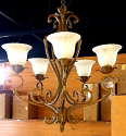 "Rusty Sandy Bronze Wrought Iron Chandelier Scallop Alabaster Glass 28""Wx32""H - Sale !"