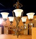 "Rusty Sandy Bronze Wrought Iron Chandelier Scallop Alabaster Glass 28""Wx32""H - Sale !"