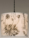 "Canvas Drum Swag Lamp Plants Flowers 12""W"