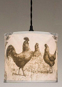 "Canvas Drum Swag Lamp Roosters Chickens 12""W"