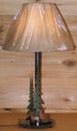 "Deer Pine Trees Metal Desk Lamp 25""H"