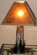 "Pine Trees Natural Oak Wood Mica Lamp 27""H"
