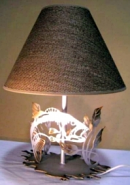 "Fish In Grass Metal Cutout Lamp Fabric Shade 22""H"