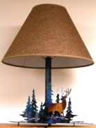 "Deer Trees Metal Cutout Lamp Fabric Shade 22""H"