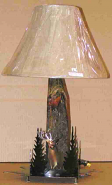 "Elk & Trees Wood Lamp 26""H"