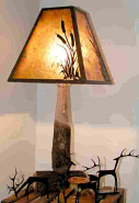 Bradford Pear Wood Lamp w/Cattails Mica Shade 27""