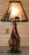 "Cedar Wood Lamp Black Bears Pine Trees Mica Shade 27""H"
