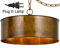 "Rochefort Rustic Metal Drum Plug In Pendant Light 20-30""W"