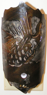 "Pine Cone Sconce Metal & Mica Wall Night Light 3""Wx6.5""H Light On"