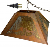 "Deer Hooves & Mountains Mica Pendant Light 20""W - Sale !"