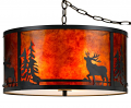 "Deer Elk Pine Trees Drum Mica Swag Lamp 18""Wx8.5""H"
