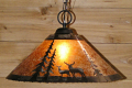 "Deer Mica Pendant Light Swag Lamp 14-18""W"