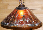 """Native American End of Trail Mica Pendant Light 14-18""""W"""
