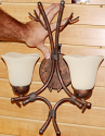 "Rustic Lodge Tree Limb Wall Lamp Cream Scavo Glass Shade 18""H - Sale !"