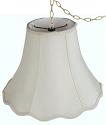 """Scallop Bell Silk Swag Lamp Cream, White 10-18""""W"""