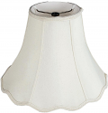 "Scallop Bell Silk Lamp Shade Cream, White, Optional 17 Colors Beaded Fringe 10-18""W"