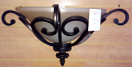 "Scavo Glass Wrought Iron Wall Sconce Light 16""W"