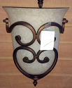 "Scavo Glass Wrought Iron Wall Sconce Light 11""W"