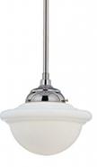 "Neo Industrial Chrome School House Pendant Light Opal Glass 9.5""Wx47""H"
