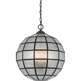 "Seeded Glass Ball Pendant Light Black Frame 16""W - Sale !"