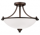 "Bristo Dark Bronze Semi Flush Ceiling Light Etched Glass 17""Wx13""H"