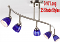 Serpentine Track Light w/25 Shades in Glass or Metal 2-10 Feet Long