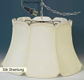 """V Notch Shallow Drum Bell Silk Swag Lamp 17-19""""W"""