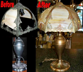 Slag Lamp & Shade Glass Replaced Finish Restored