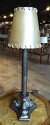 """Small Bronze Iron Table Lamp Rawhide Shade 22""""H"""
