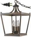 "Kennedy Bronze Plug In Lantern Pendant Light Swag Lamp 10""Wx16""H"