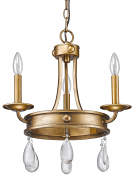 "Krista Antique Gold & Crystal Pendant Light 11""Wx18""H"