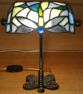 "Small Tiffany Dragonfly Bankers Lamp 10""H SOLD"
