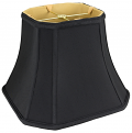 "Black Square Bell Cut Corner Silk Lamp Shade Cream, White, Black 8-18""W"