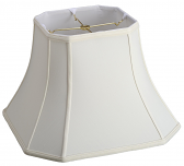 "Square Bell Cut Corner Silk Lamp Shade Cream, White, Black 8-18""W"