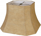 "Square Bell Cut Corner Leather Look Lamp Shade 10-18""W"
