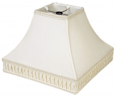 "Smock Pleated Gallery Square Silk Lamp Shade 12-16""W"